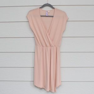 Francescas Alya Light Pink V Neck Faux Wrap Dress